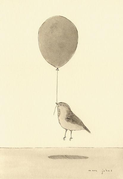 bird with a balloon Art Print by Marc Johns