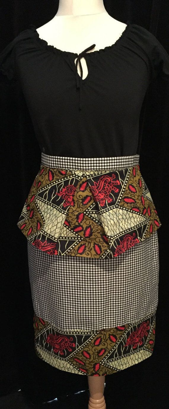 Red, Black and Khaki African Print Peplum on black and white dogtooth pencil…