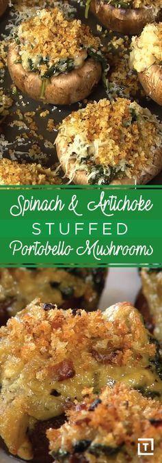 Spinach & Artichoke Stuffed Portobello Mushrooms - Thrillist