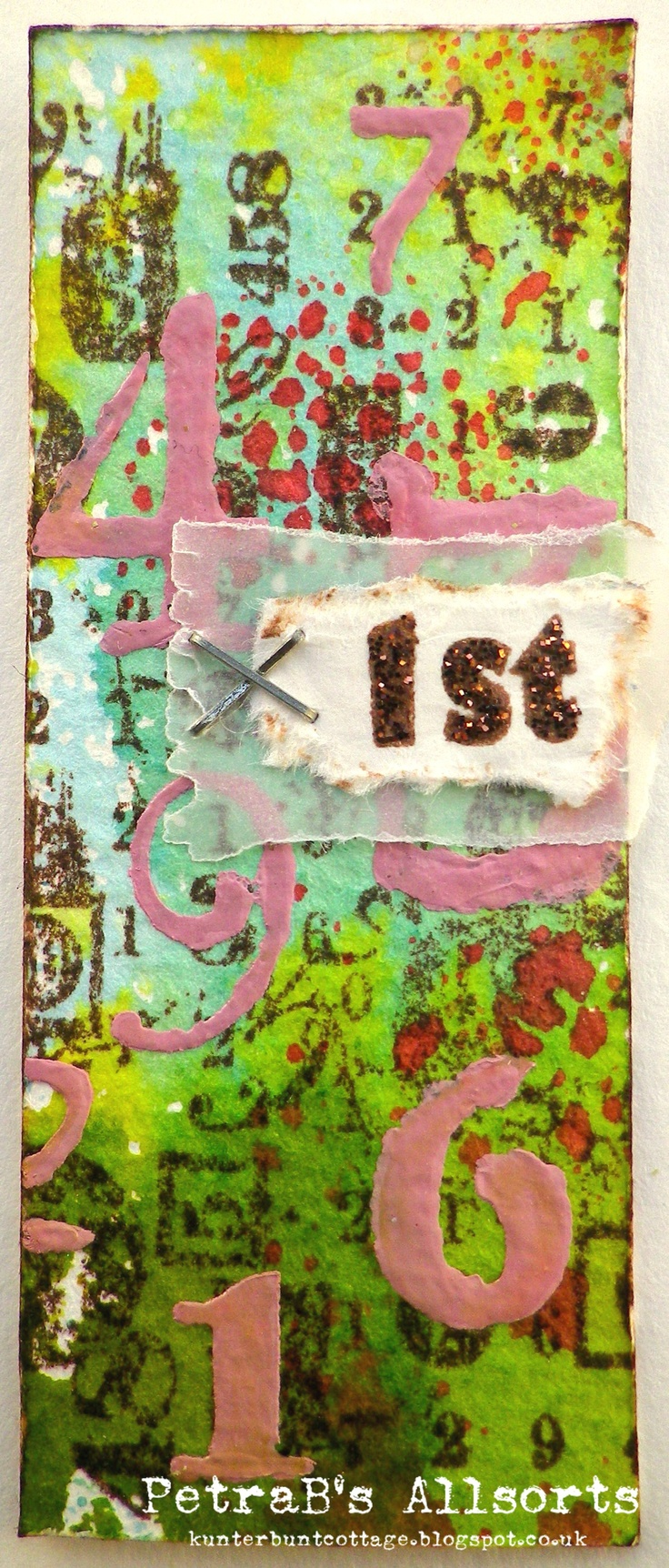 Moo - Numbers. inky background - acrylic paint numbers - stamps: PaperArtsy, Elzybells