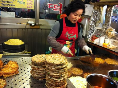 Mung bean pancakes in Gwangjang Market, a food destination in Seoul