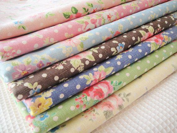 Floral Linen Fabric with Dots/ Shabby Chic/ Flower Fabric/ Linen Cotton/  Floral Cotton Linen Fabric - Fat Quarter Bundle, 7 Fat Quarters