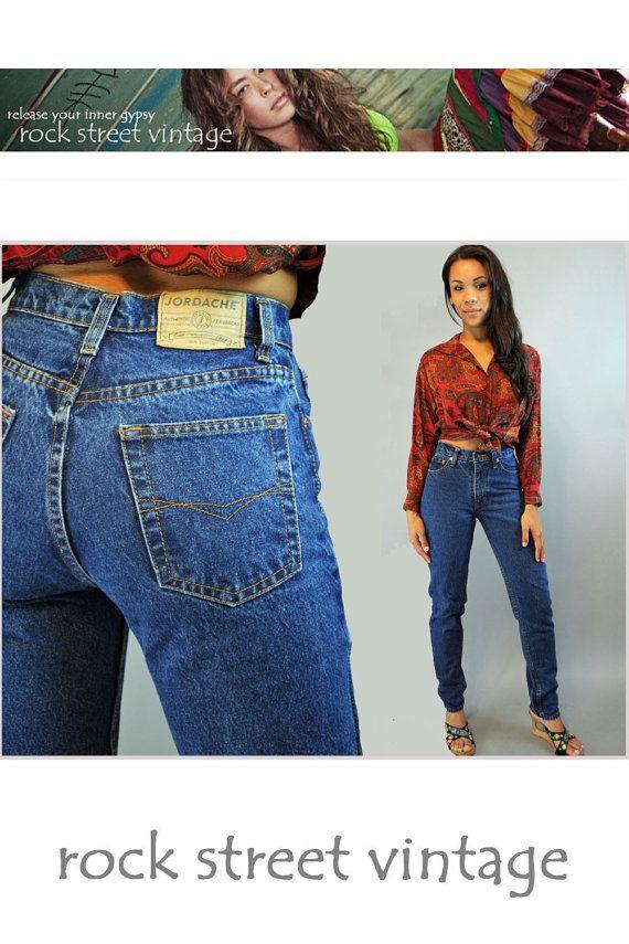 80s Vintage High Waisted Jeans / JORDACHE denim high waist blue jeans Dark Wash Jeans skinny taper legs 28 Waist