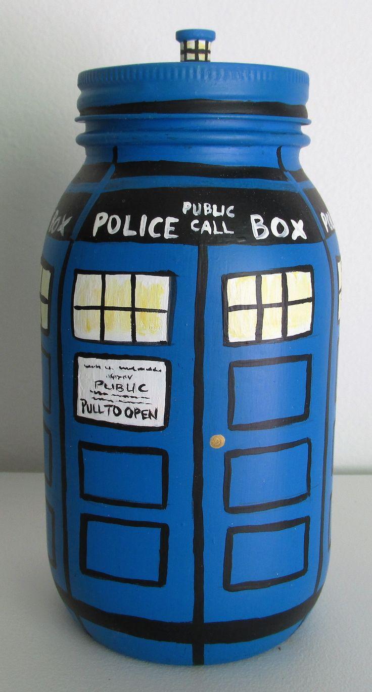 1000 ideas about mason jar bank on pinterest money jars piggy banks and savings jar - Tardis piggy bank ...