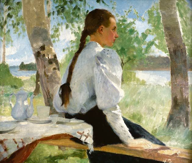 Helene Schjerfbeck (Finnish, 1862-1946). Young Girl Under the Birch Trees, 1891