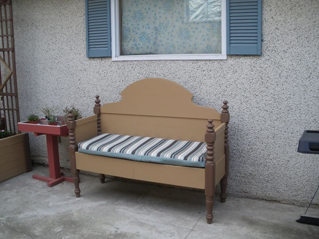 bench made from bed head board and foot board