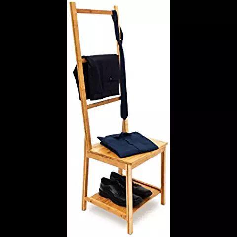 Relaxdays Chaise porte-serviettes porte-vêtements en bambou Étagère avec assise 3 barres  salle de bain chambre à coucher H xl x P: 133 x 40 x 42 cm- nature