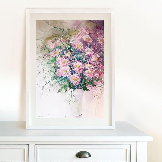 Chrysanthemums Original Watercolor Painting Pink