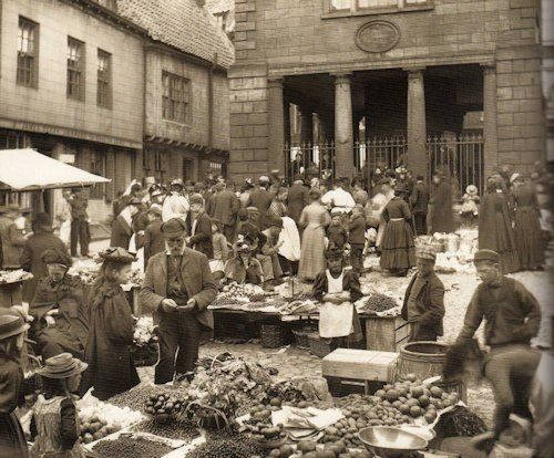 Whitby Market Place with the Town Hall in the background - Whitby, North Yorkshire, England, Late 1800s
