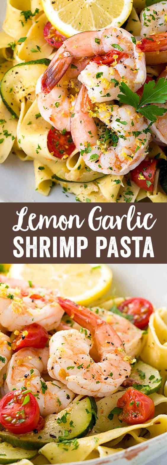 Shrimp pasta recipe with lemon garlic sauce served with zucchini and tomatoes. A simple, healthy meal prepared in only 30 minutes. via @foodiegavin