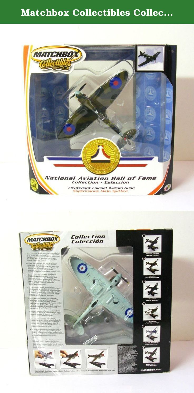 Matchbox Collectibles Collection Mk1a Spitfire. This model is one in a set of six that share UPC code# 035995974722. It is labeled on the window box NATIONAL AVIATION HALL OF FAME. The models in this set are authentic reproductions of six WWII fighters whose pilots are enshrined in the National Aviation Hall of Fame Museum in Dayton, Ohio. The Hall of Fame edition models were manufactured by Mattel in 2002. The display stand for each Matchbox Hall of Fame model includes the name of the...