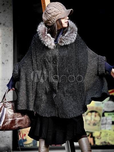 Pelliccia Chic profondo grigio a maglia maglione Casacca donna - Milanoo.com