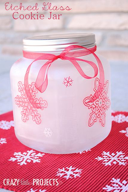 Etched Glass Snowflake Cookie Jar