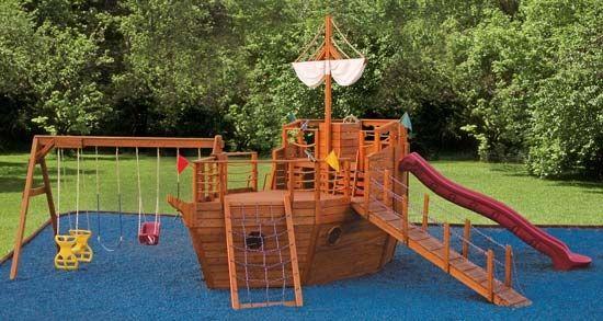 Pirate ship playground set twirly whirly pinterest - Pirate ship wooden playground ...