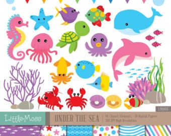 Little Mermaids Digital Clipart and Papers Under the by LittleMoss