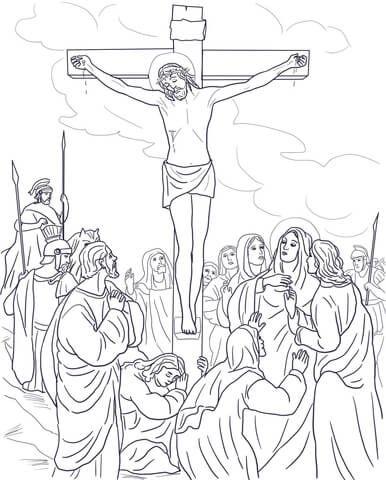 Dodicesima stazione - Gesù muore in croce Disegno da colorare