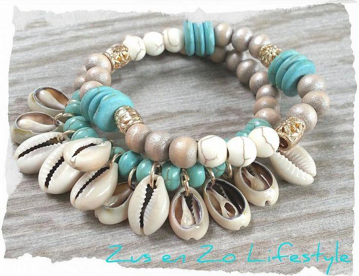 Ibiza style armbandjes met turquoise en schelpjes bij Zus en Zo Lifestyle
