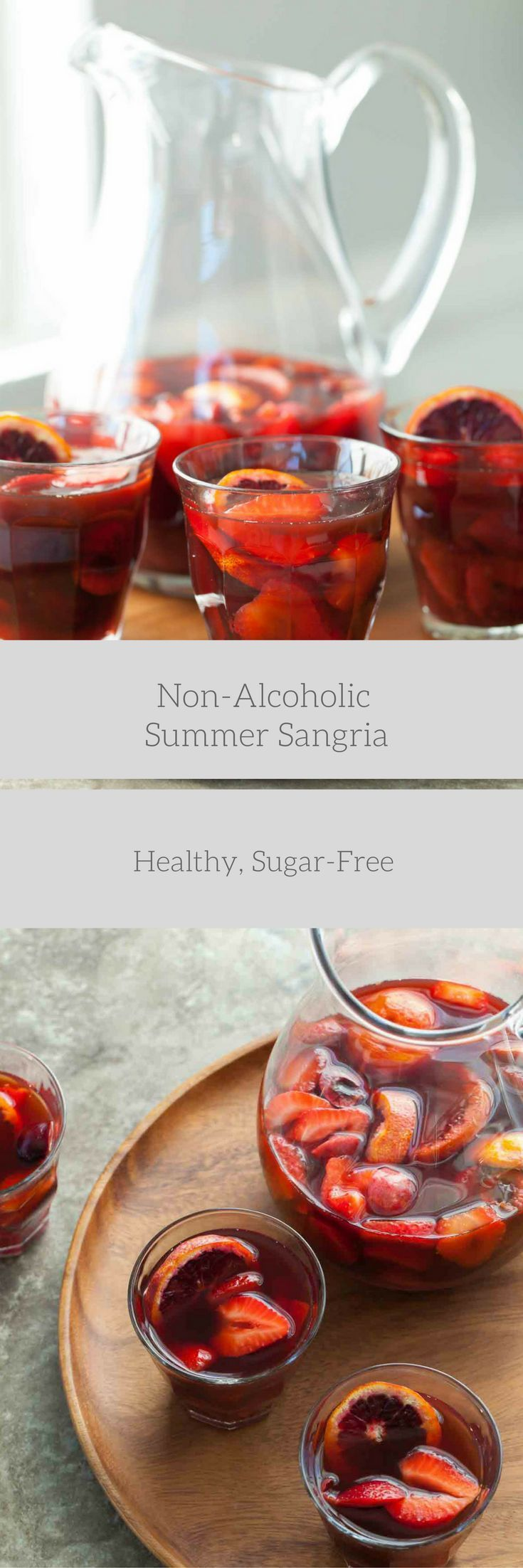 Non-Alcoholic Summer Sangria - This mock sangria filled with strawberries, cherries and plums is just as refreshing and crowd-pleasing as the original. | Gourmande In The Kitchen