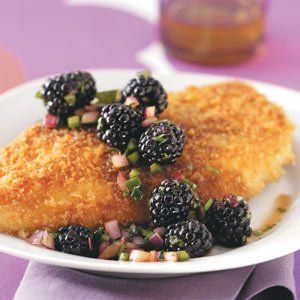 Crumb-Coated Chicken & Blackberry Salsa Recipe -Maple lends a sweet touch to blackberry salsa. The easy recipe is also great paired with fish. —Tammy Thomas, Morrisville, Vermont