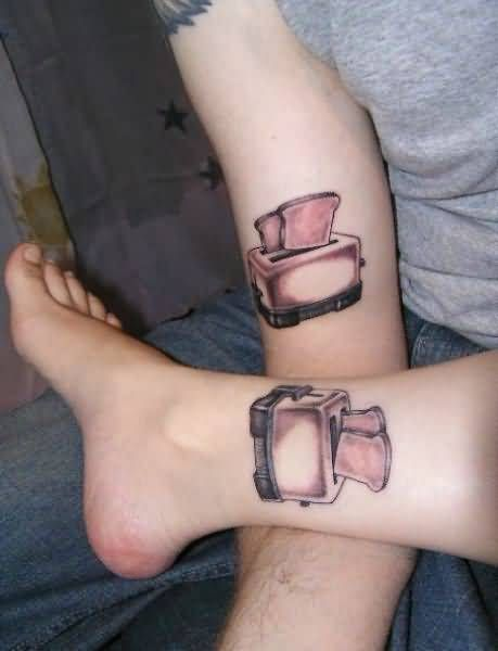 Funny Toaster Tattoo Design For Couples - http://tattoosaddict.com/funny-toaster-tattoo-design-for-couples.html #CoupesTattoos, #CoupleTattoos, #Couples, #Design, #For, #Funny, #Tattoo, #Toaster