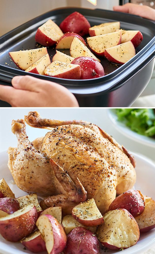 Start in the microwave, finish in the oven—cut dinner prep time in half! Tandem cook your chicken and potatoes in the UltraPro Roasting Pan for tonight's family meal.