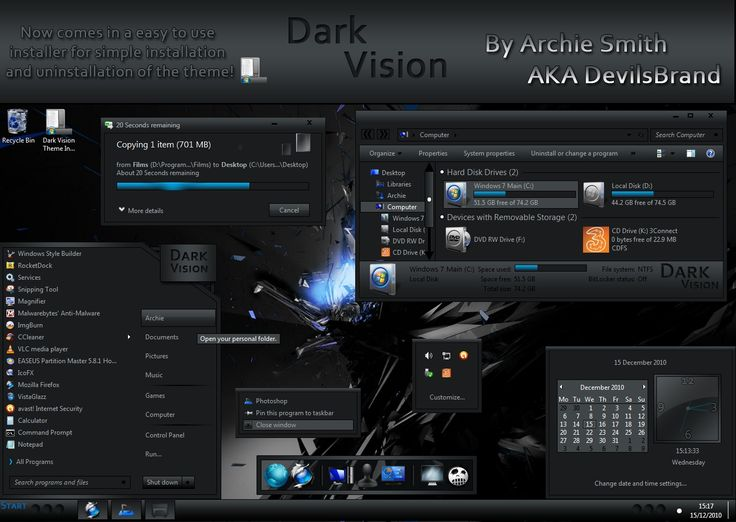 Beautiful black windows 7 theme