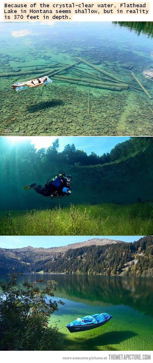 Flathead Lake in Montana. It's not 370 ft deep in these pictures, I'm no idiot, but it is clear and gorgeous!