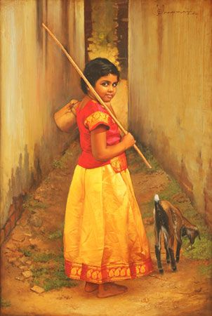 Tamil girl with lunch box, shepherd stick and her pet lamb - Painting by S. Elayaraja