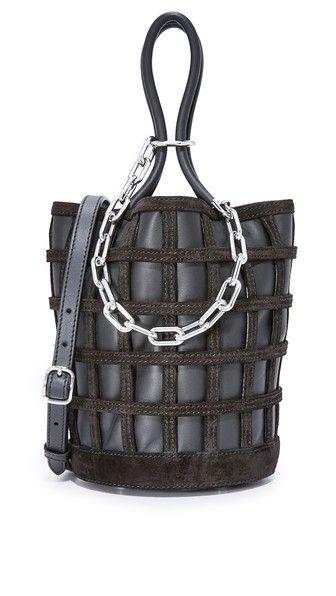 ALEXANDER WANG Roxy Cage Bucket Bag. #alexanderwang #bags #shoulder bags #hand bags #bucket #suede #