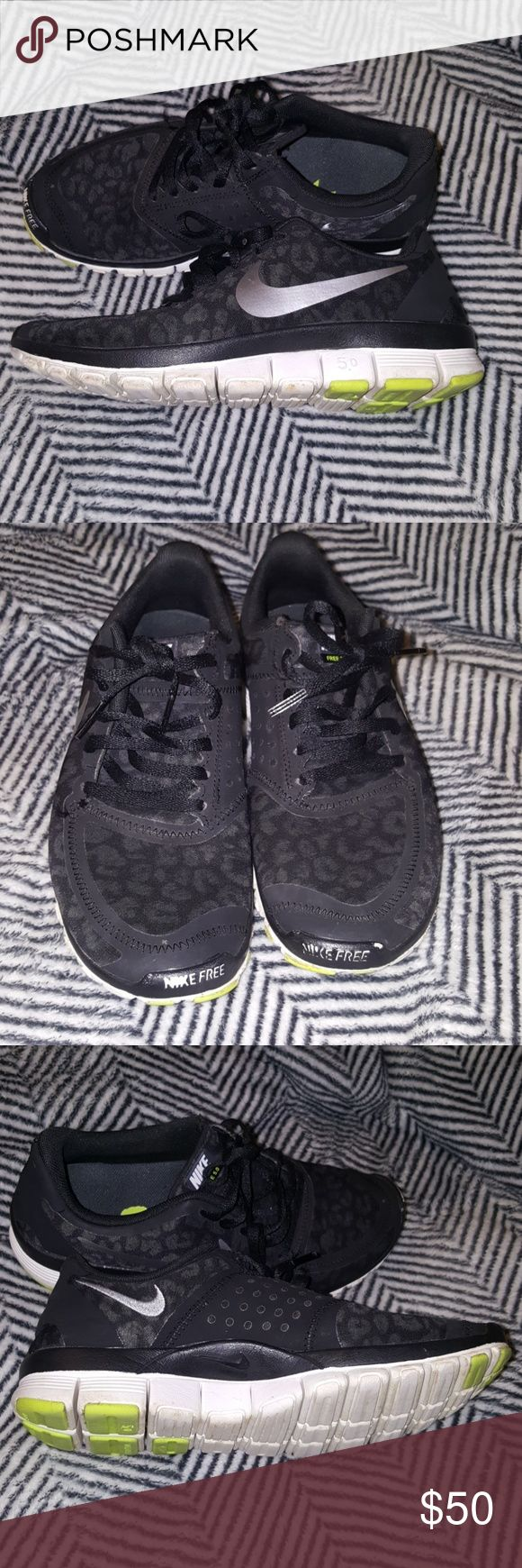 Nike free 5.0 Black and white nikes with cheetah print super cute and pretty good condition, they have scuffs in front of shoes and inside heel of shoe nike sign peeled but other than that lots of life left Nike Shoes Athletic Shoes