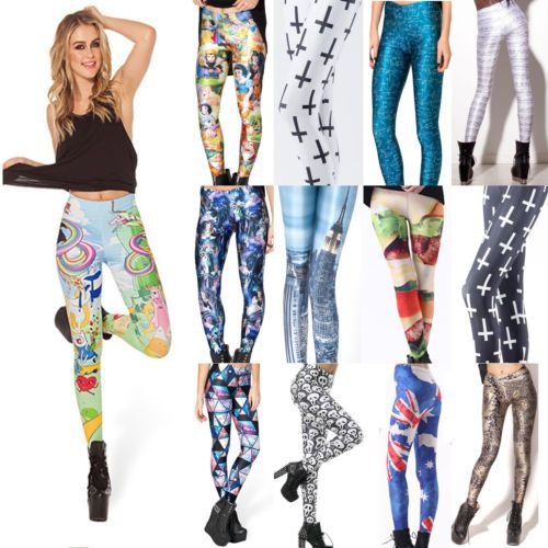 Sexy Damen Bunte Stretchy Leggings Lang hoher Jersey Hose Strumpfhose Leggins in Kleidung & Accessoires, Damenmode, Leggings   eBay
