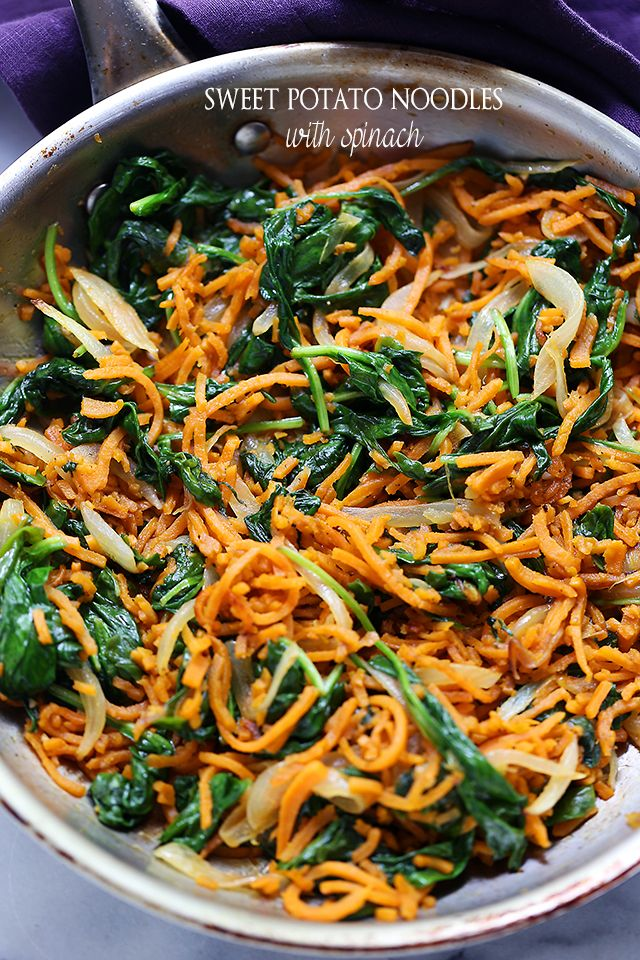 Sweet Potato Noodles with Spinach by diethood #Sweet_Potato #Spinach