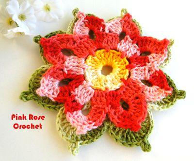PINK ROSE GANCHILLO: Singela flor de ganchillo