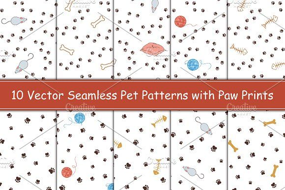 Animal Paw Prints Seamless Patterns By Inkysplash Pattern