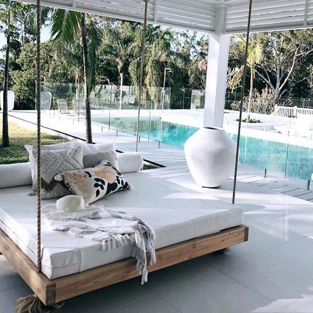 The Beautiful Hanging Day Bed We Upholstered For Threebirdsrenovations Swinging Pretty Valleyvogue Customsoftfurnishing House Design Backyard Beach Home