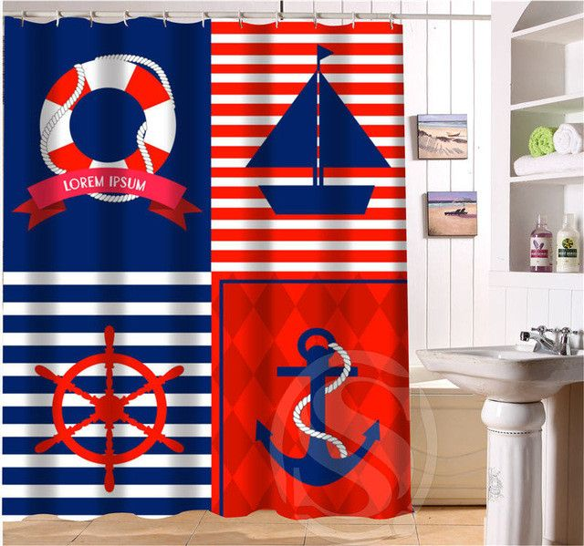 Anchor Personalized Custom Shower Curtain Bath Curtain Waterproof Eco-Friendly MORE SIZE SQ0506-LQ913
