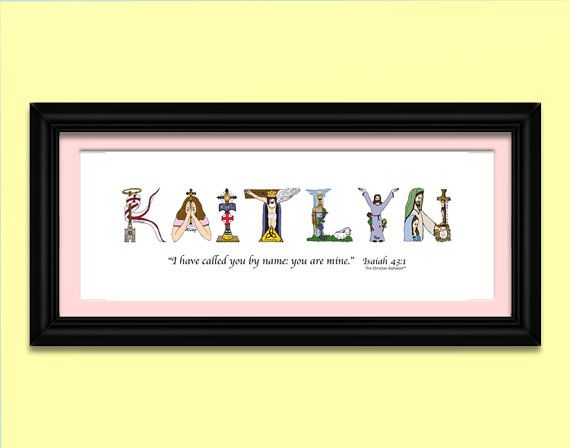 Kids Name Art for boys and girls using letters from The Christian Alphabet™ to create unique, personalized Christian kids name art for ALL