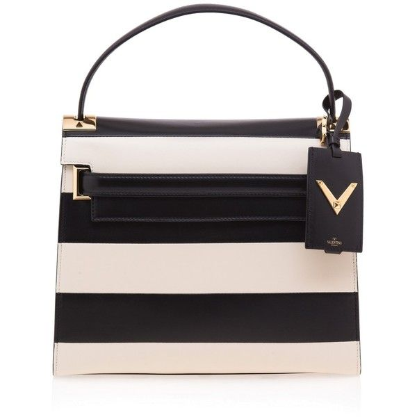 Valentino My Rockstud Striped Tote ($3,441) ❤ liked on Polyvore featuring bags, handbags, tote bags, multi, studded leather tote, leather purse, stripe tote, studded tote and studded purse