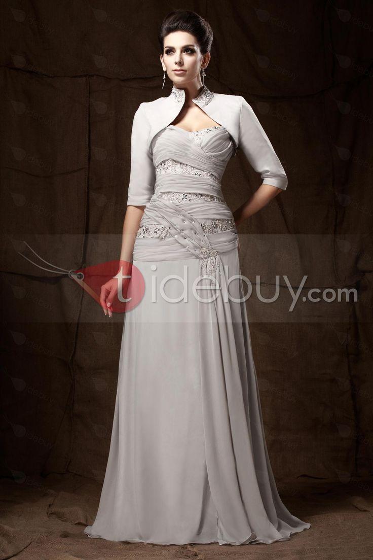 Aライン 花嫁さんの母ドレス スウィートハートネック 床までの長さ レース プリーツ