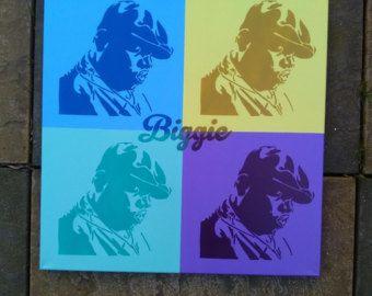 Biggie Smalls painting Andy Warhol Pop art hip hop Brooklyn New york America graffiti spray paint art street art king stencil art canvas