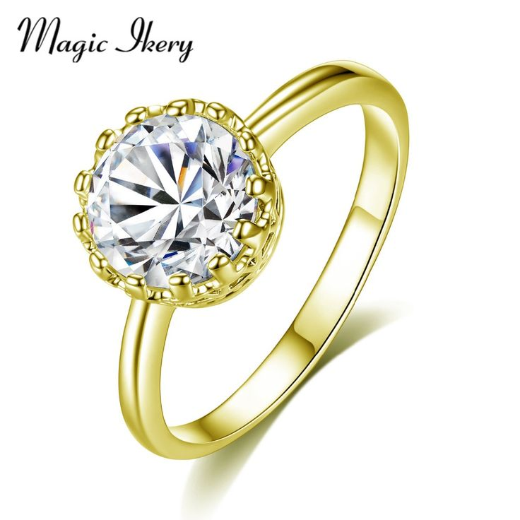 >> Click to Buy << Magic Ikery Elegant Women Wedding Jewelry Party Rings Gold Color Fashion Charm Ring Luxury Zircon Crystal Accessories MMR03J #Affiliate
