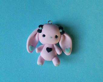 Cute Bunnie Pastel Polymer Clay Charm