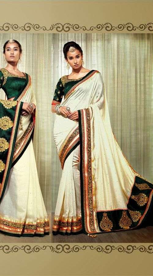 Exclusive White Cotton Silk Designer Saree With Green Blouse
