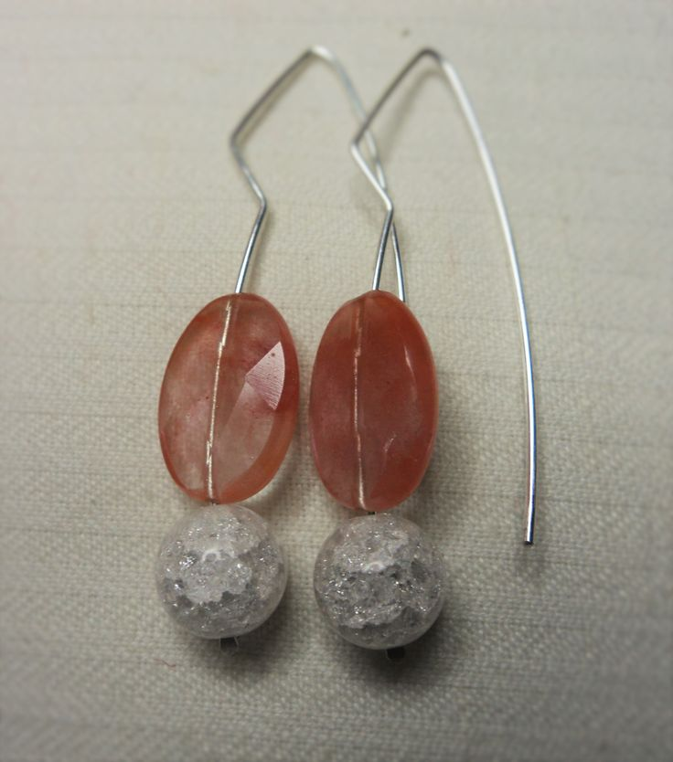 Sterling Silver Dangle Earrings with pink tourmaline and quartz craquelé spheres