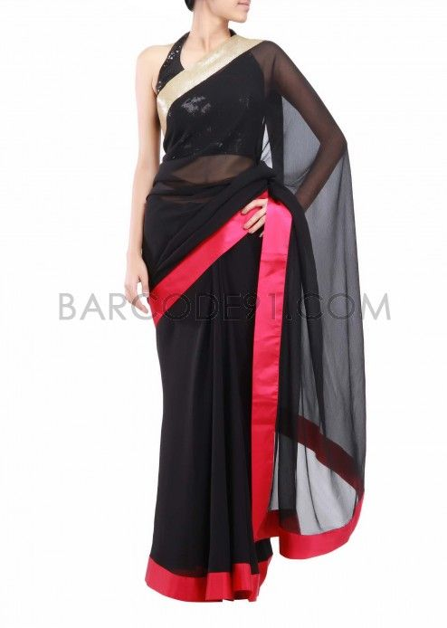Black pure chiffon saree with border