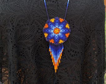 Items similar to Divine yellow TONANTZIN beaded necklace handmade by Mexican Huichol artisans =) on Etsy