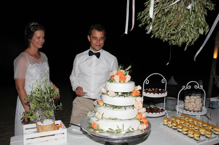 Stine and Amund on their special day - a sweets table on Agia Anna Beach - styled by Islandevents.gr #naxosweddings