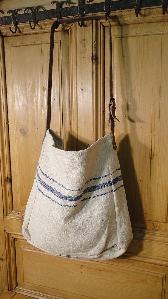 Antique European Grain Sack,Tote Bag, Book Bag,Ipad Bag,Purse.#4391