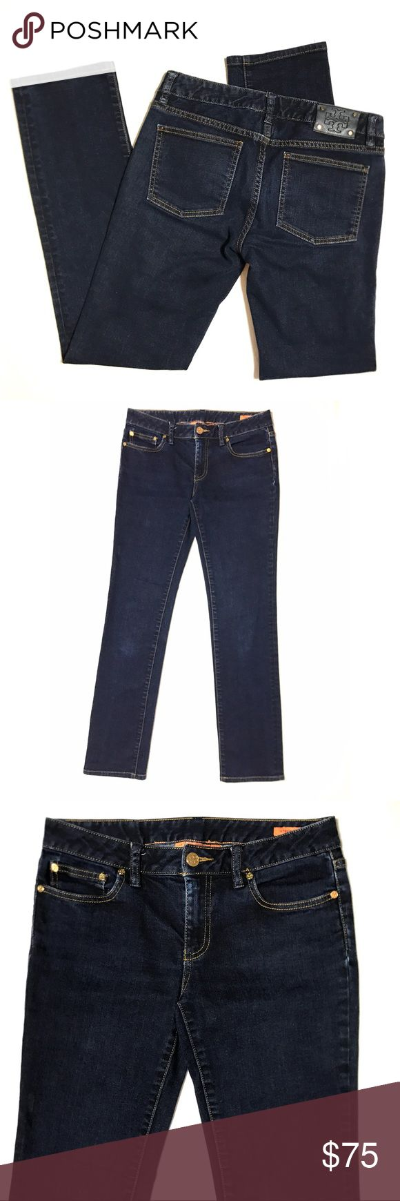 "Tory Burch Straight Leg Dark Rinse Cigarette Jeans Tory Burch SZ 27 Straight Leg Dark Rinse Indigo Wash Cigarette Denim Jeans  *Great Used Condition. Slight fading from wear and wash. Please see pictures. **Sold out online, retails for $185  Measurements: 31"" Waist 31"" Inseam 7"" Rise Tory Burch Jeans Straight Leg"