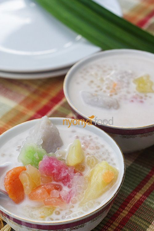 Bubur cha cha a medley of sweet potatoes (in yellow, orange, and purple color), yam (taro), black-eye peas, etc., cooked in a sweet coconut milk base. It is a colorful and sweet dessert, and is generally prepared during festive seasons in Penang.  The tapioca jelly—chewy and stretchy in its texture—